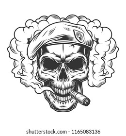 Skull in smoke cloud and beret hat. Vector illustration