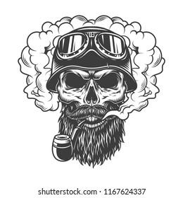 Skull in smoke cloud and biker helmet. Vector illustration
