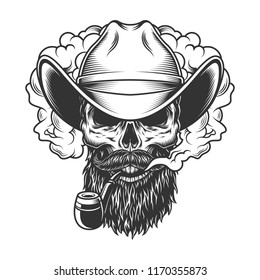 Skull in smoke cloud and cowboy hat. Vector illustration
