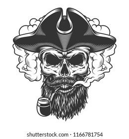 Skull in smoke cloud and pirate hat. Vector illustration