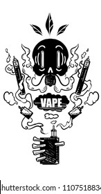 Skull smokes and lets the steam out. Vape label. E-cigarette, vaping box mods.skeleton emblem. Isolated on white. Poster on the wall for vape bar. image for printing on t-shirt.Retro cartoon style.