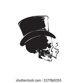 Skull smoking wear magic hat side view vector design