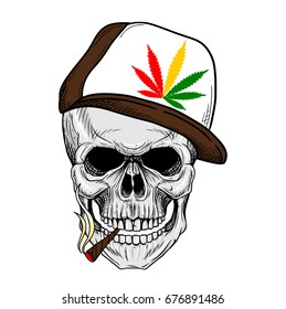 Skull Smoking Weed Wearing weed Hat, Rastaman Skull Hand Drawing