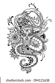 Skull and Snake adult coloring page. Vector illustration.