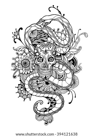 Skull Snake Adult Coloring Page Vector Stock Vector Royalty Free