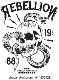 skull and snake print for t shirt graphic