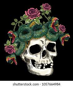 skull and snake in the roses.vector design