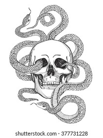 Skull and Snake. Tattoo art, coloring books. Hand drawn vintage vector illustration Isolated on white background.