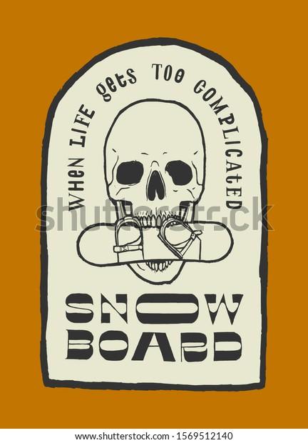 skull-snowboard-teeth-vintage-typography