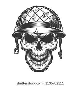 Skull in the soldier helmet. Vector vintage illustration