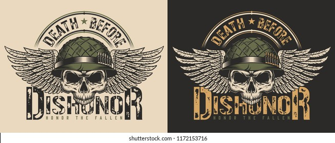 Skull in soldier helmet and wings t-shirt print concept. Vector illustration