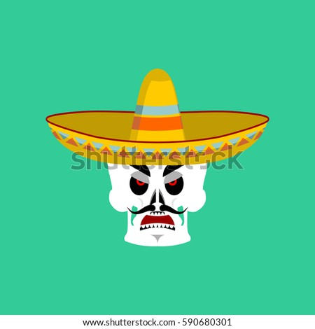 Skull in sombrero angry Emoji. Mexican skeleton for traditional feast day  of the dead. f71632e1834