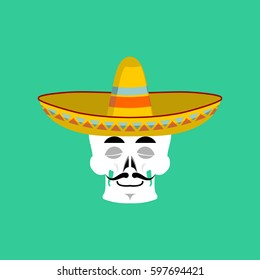 Skull in sombrero sleeping Emoji. Mexican skeleton for traditional feast day of the dead.