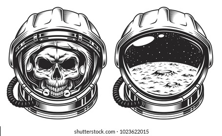 Skull in space helmet with star. Poster, emblem concept