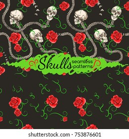 Skull and spine. Interlacing. Roses and lianas. Seamless pattern.