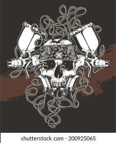 skull with spray gun