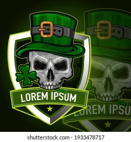 skull st patrick day sport logo in vector
