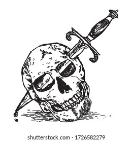 A Skull Stabbed with a Dagger Illustration