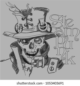 Skull in steampunk style black and white illustration