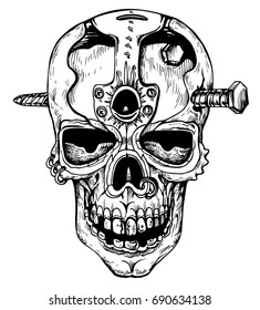 Skull in steampunk style - hand drawn vector illustration, isolated on white