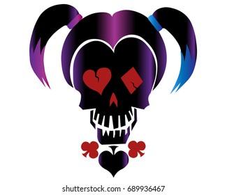 Skull in style of 'Harley Quinn'