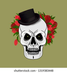 Skull in a stylish hat with flowers. Skull, cylinder-hat, tulip. Bright and catchy. Fashionable print. Hand-drawn. Vector illustration.