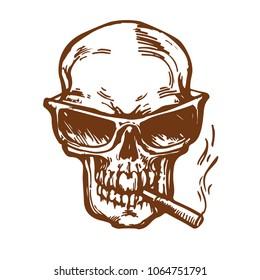 0c77b1ceb72e Skull in sunglass smoking the cigarette ink sketch hand drawn stock vector  illustration