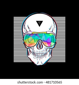 Skull in sunglasses iridescent mirrored sunglasses on striped background. Vector illustration EPS10. Design a poster for a t-shirt. Great cool print on the sweatshirt. Black and white human skull.