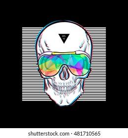3d5b36b02788 Skull in sunglasses iridescent mirrored sunglasses on striped background.  Vector illustration EPS10. Design a