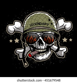 Skull with sunglasses and a military helmet. The illustration on the theme of the army on a dark background.