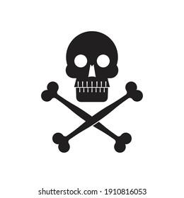 Skull symbol design.  Icon of death, danger, pirates. Simple silhouette illustration.