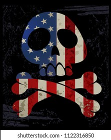 Skull T shirt Graphic Design with American flag