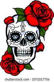 Skull tatoo whith flower and mexican holyday element