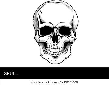 skull tattoo black and white