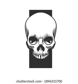 A skull. Skull tattoo. Can be used as a sketch of a tattoo.