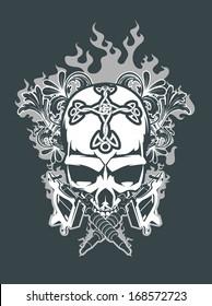 Skull with tattoo guns