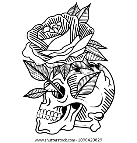 Skull Tattoo Old School Rose Lifestyle Stock Vector Royalty Free