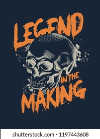 Skull. Tee print. Detailed hand drawn illustration of skull on dark background with Hard Core typography.
