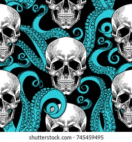 Skull and tentacles of the octopus .Vector seamless pattern