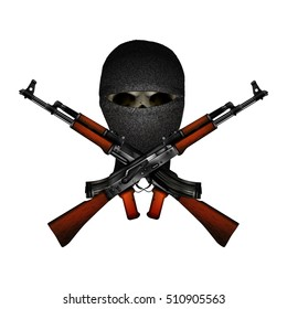 skull terrorist masked and Kalashnikov machine guns. Isolated objects on a white background, can be used with any image or text.