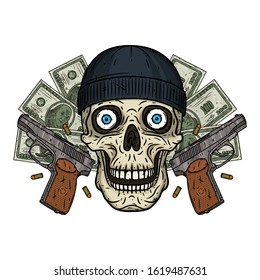 Skull. Thief skull. Vector illustration of human skull with black hat and two pistols.