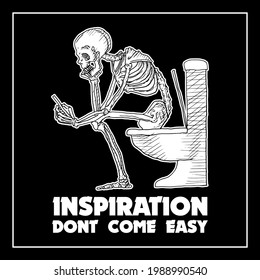 skull at toilet looking for some inspiration for his project, a funny design best for wall decoration for your dark n rock theme room or for your tshirt. scary skull design with a little funny touch