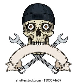 Skull with tools. Skull with crossed wrenches, bone and ribbon for your text. Vector skull with spanner