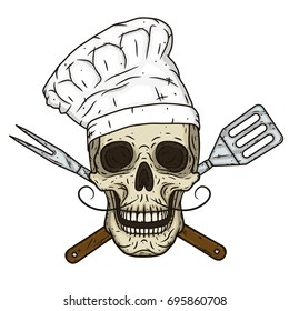 Skull in toque and crossed barbecue tools. Cartoon skull in hand drawn style. Chef skull