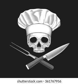 The skull in toque. Crossed knife and fork. Vector illustration.