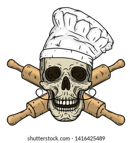 Skull in toque with crossed rolling pin. Chef skull