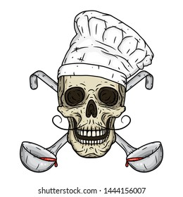Skull in toque with crossed serving spoon. Chef skull