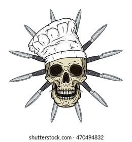 Skull in toque with knifes. Cartoon skull. Chef skull