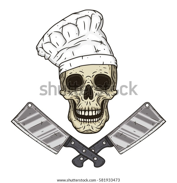 Skull in toque with knifes. Cartoon skull in hand drawn style. Chef skull