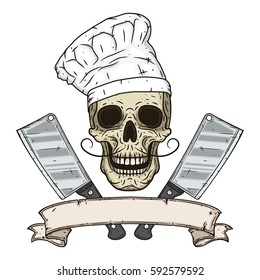 Skull in toque with two cleavers and vintage scroll. Cartoon skull in hand drawn style. Chef skull